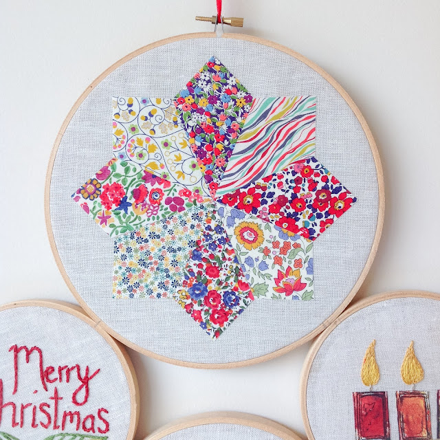 Closeup Liberty Christmas Star Hoop Art Handmade