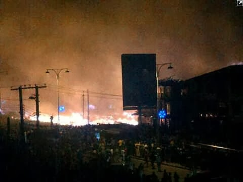 Pictures: Popular Mile 1 Market In Portharcourt Gutted By Fire This Morning