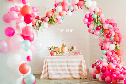 Flamingo Pop. A bridal collaboration with BHLDN and The House That Lars Built. Balloon installation by Brittany Watson Jepsen. Florals by Ashley Beyer of Tinge Floral. Photo by Jessica Peterson.