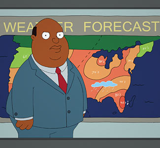 Weatherman from family guy flicks her bean