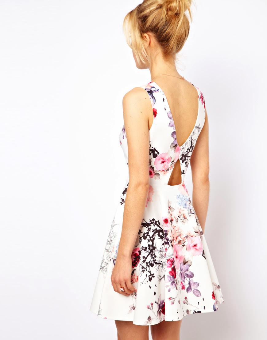Lush doodles asos floral coloured skater dress for Robe fleurie asos