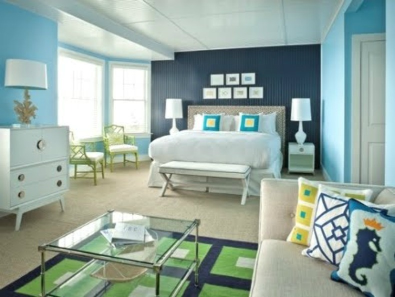 aqua blue bedroom, coastal, jonathan adler