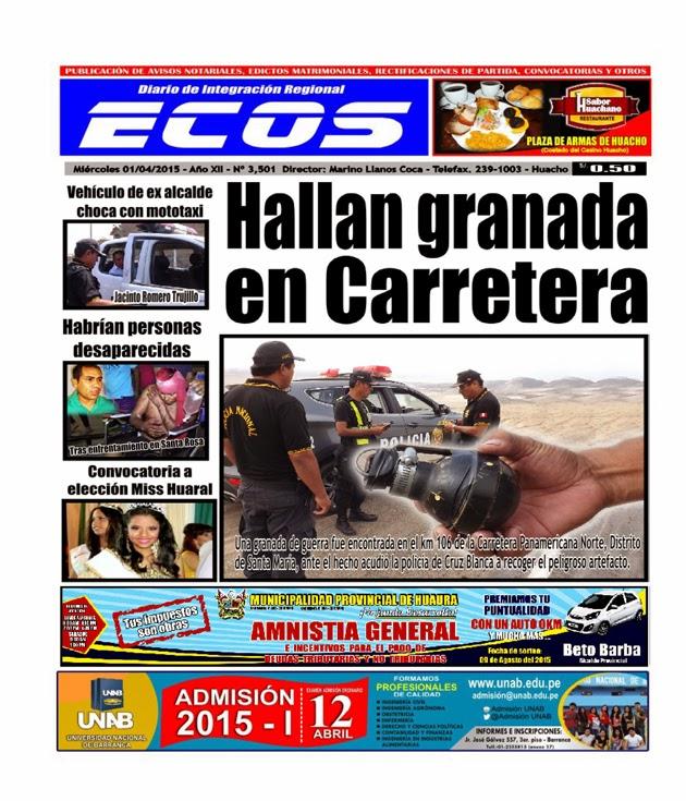Esta es la edición de Diario ECOS miércoles 01 de abril de marzo del 2015