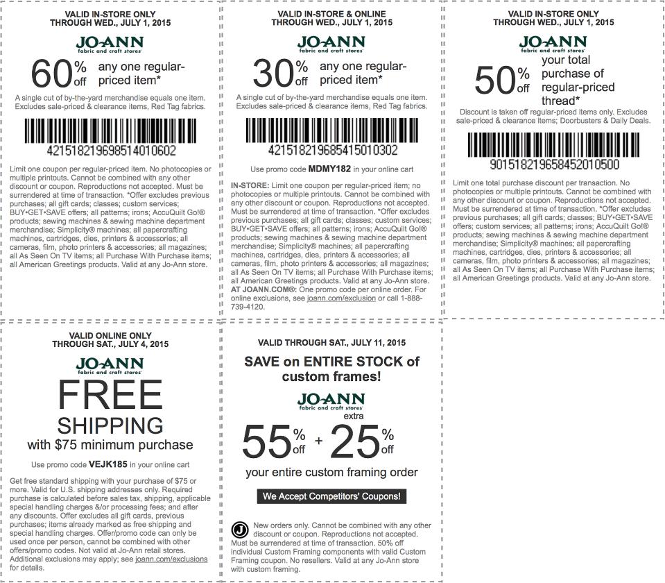 Joann.com coupon codes