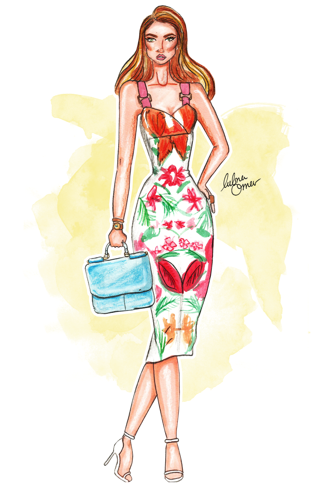 cuban nights fashion illustration by lubna omar