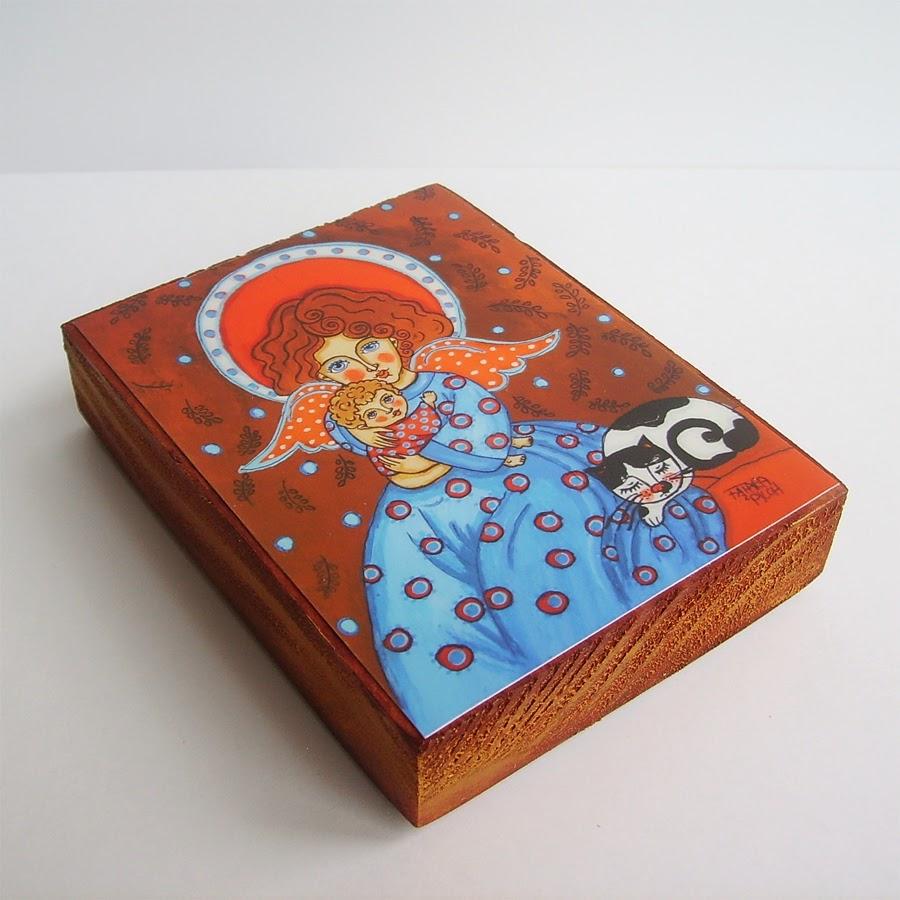 Drewniany obrazek obraz ilustracja dla dziewczynki dziecka prezent upominek na gwiazdkę ozdoba dekoracja bożonarodzeniowa świąteczna Boże Narodzenie anioł aniołek dziecko pamiątka chrztu chrzest pierwsza komunia narodziny urodziny
