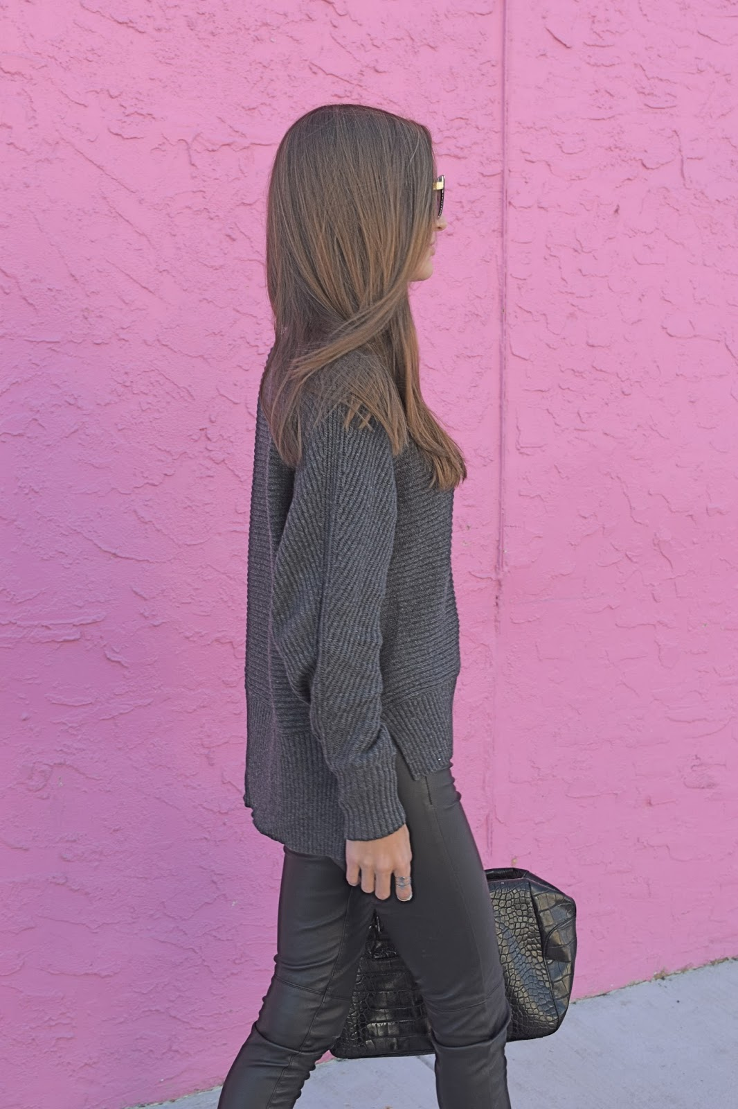 Loft Grey Knit oversized sweater, Case App Custom made phone case, Blank Denim Vegan Leather pants, wearing bcbgeneration Timoh booties