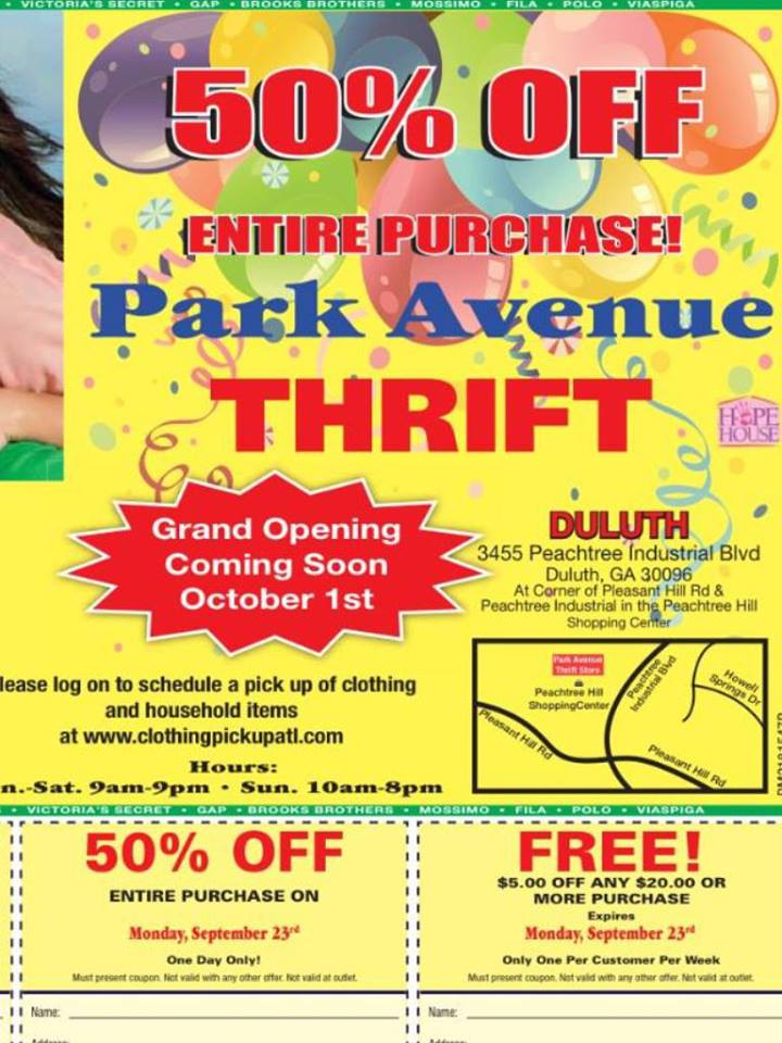Thrift Shopping Park Avenue Duluth Grand Opening Sale And 50 Off Coupon