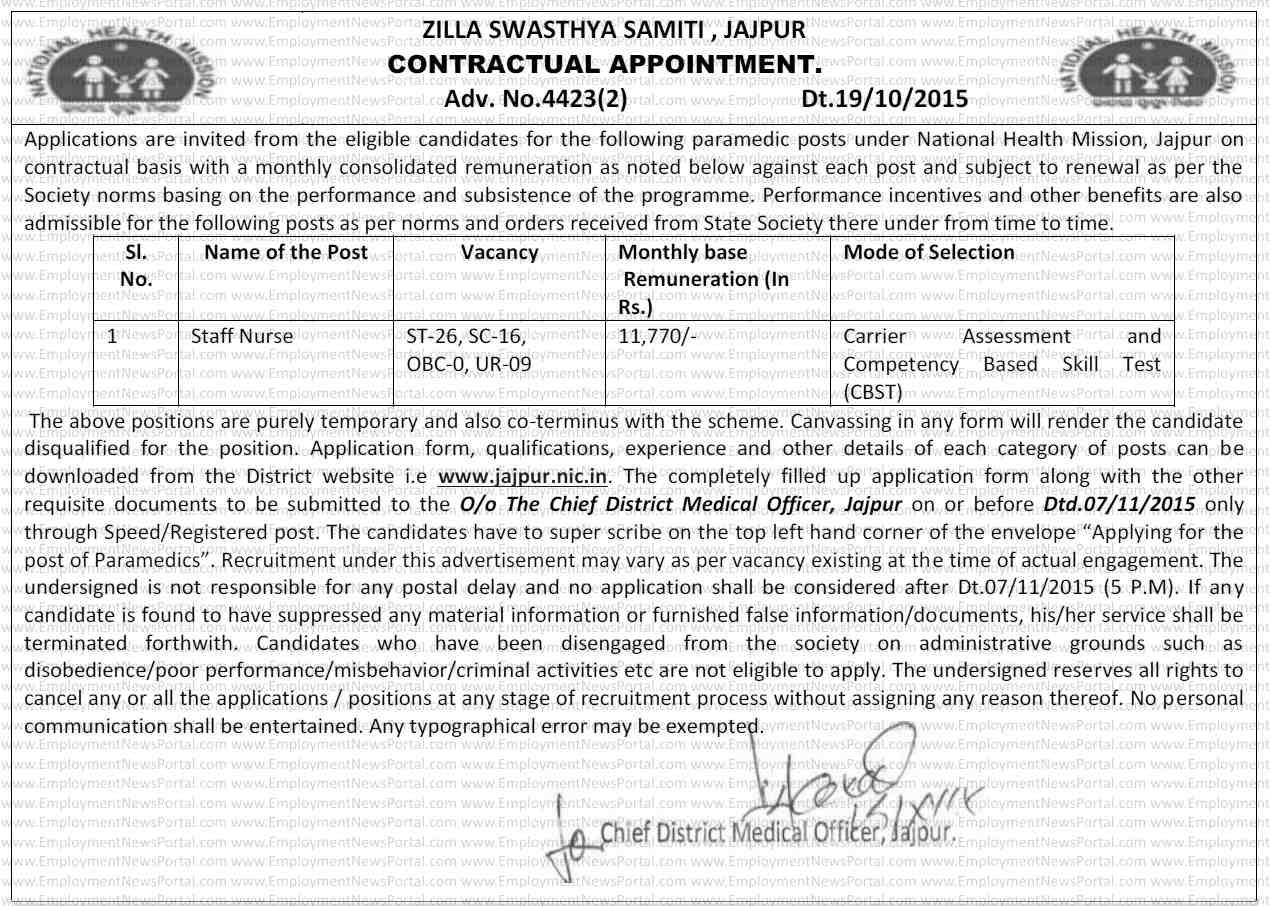 jila swasthya samiti, jobs in jaipur, recruitemnt 2015, sarkari naukri, EmploymentNewsPortal