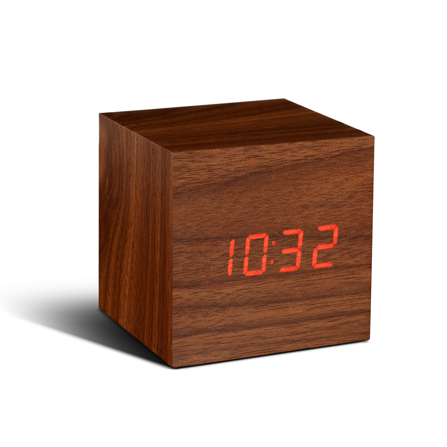 Cube Click Clock Red LED Walnut