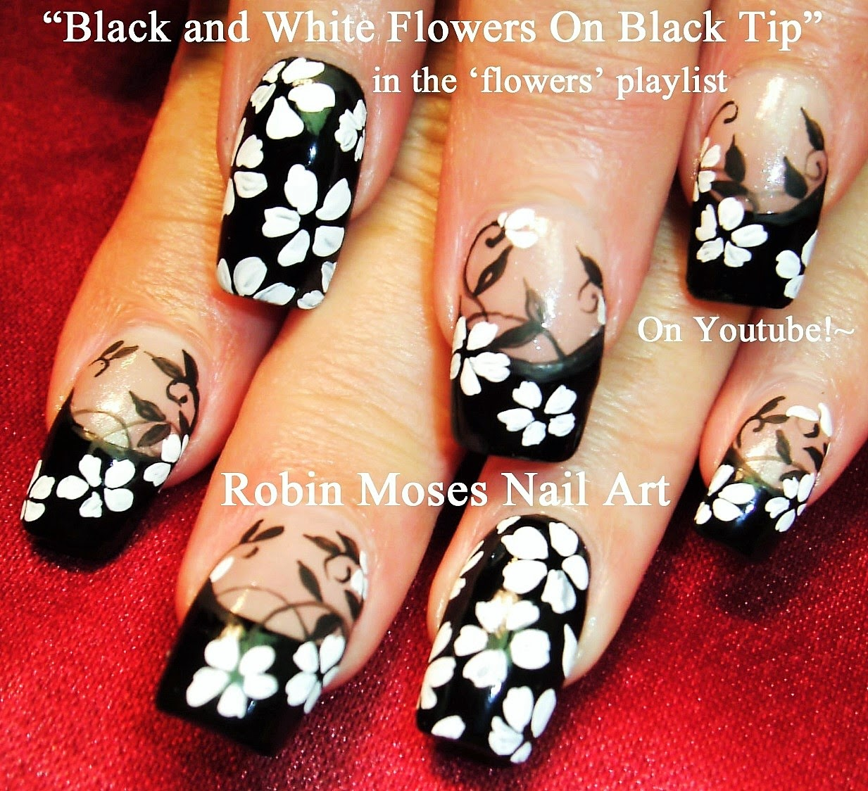 Flower Nails Black And White Nail Art Flowers Fl Clip