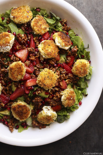Pan Fried Goat Cheese Salad with Strawberries   Club Narwhal