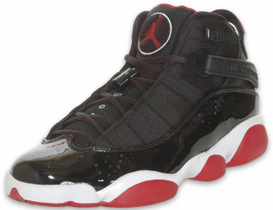 Originally released in 2008, this colorway of the Jordan 6 Rings is back  for a second time. Inspired by the black and red Air Jordan XI, this pair  comes in ...