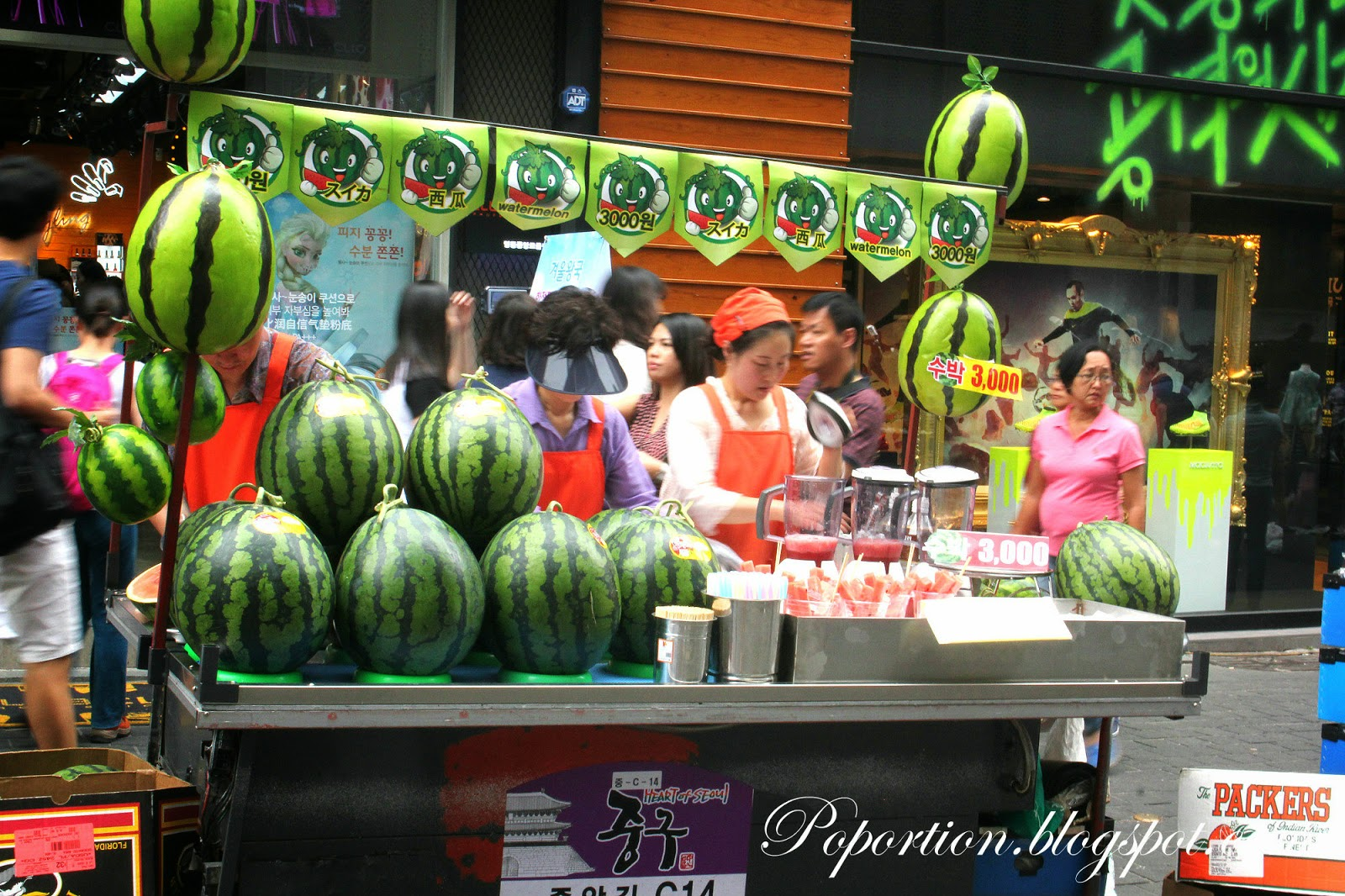 watermelon fruit juice stall korea