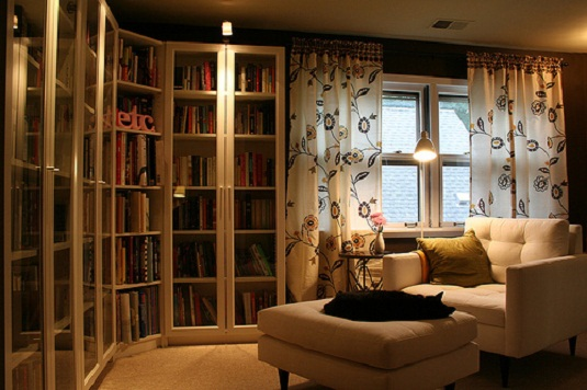 Home library room design interior design ideas Small library room design ideas