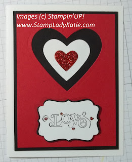 Valentine made with the Big Shot Hearts Framelits dies and Sale-a-bration stamp set: Outlined Occasions. Made by StampLadyKatie