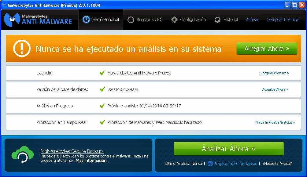 Opción analizar Malwarebytes