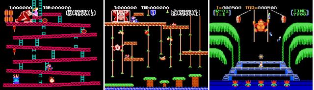 Screenshots of NES games Donkey Kong, Donkey Kong Jr., and Donkey Kong 3