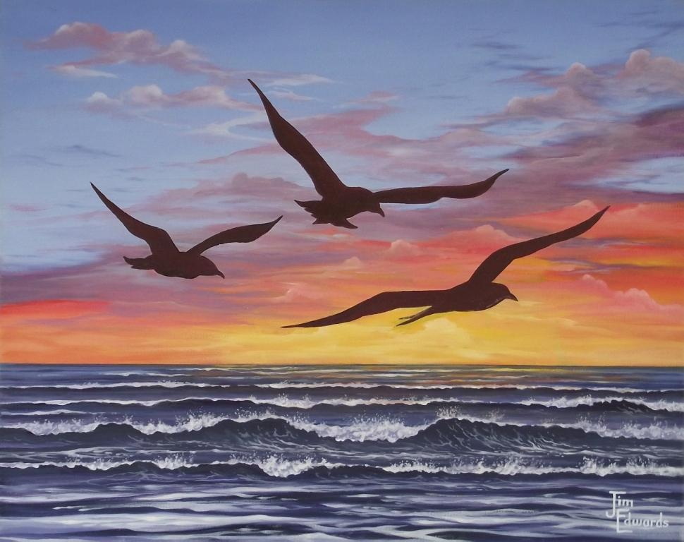 Three Seagulls 16 x 20