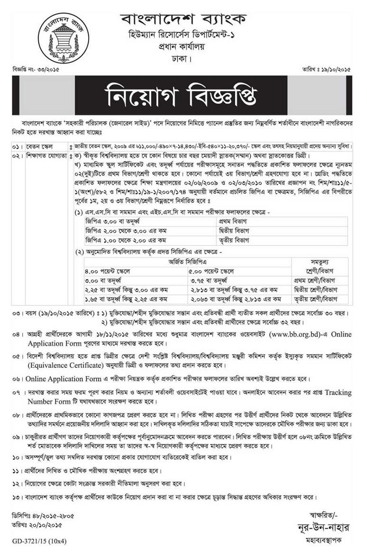 Bangladesh Bank :: chakrirkhabar