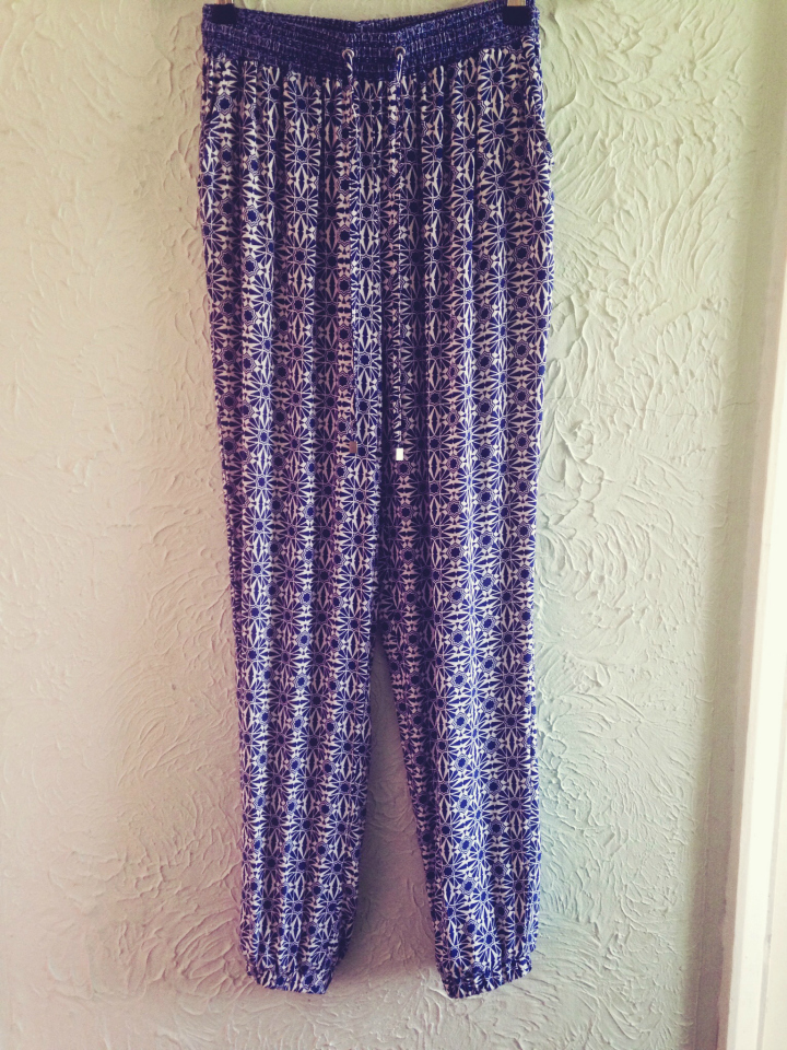 New Look Blue Tile Print Trousers