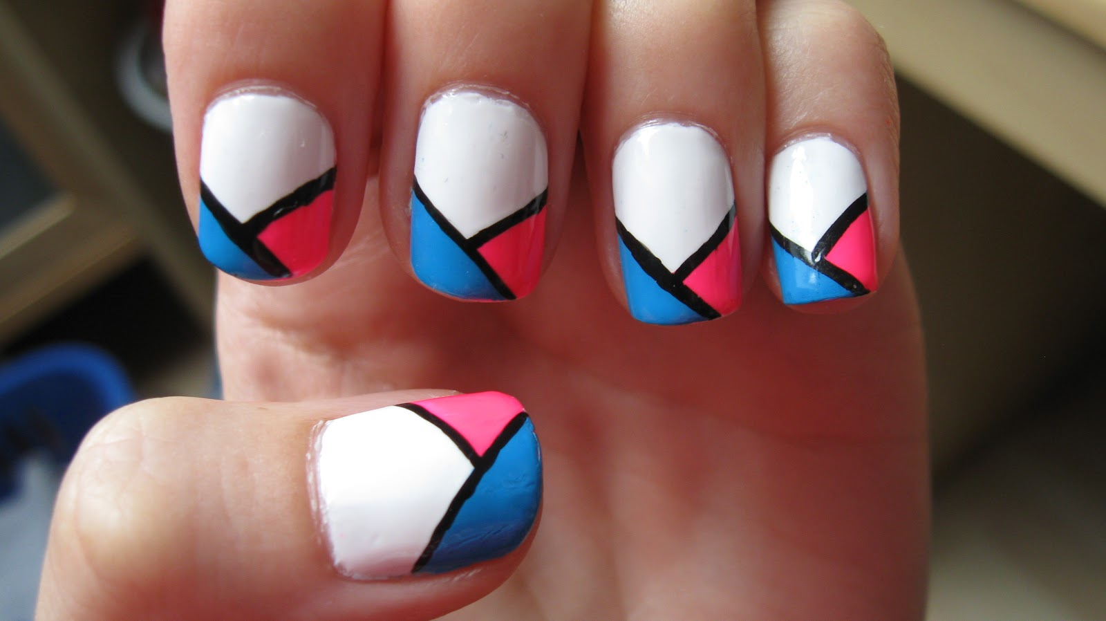 Fanning the Fumes - A Nail Art Blog: Neon Pink and Blue Wrapped Tips