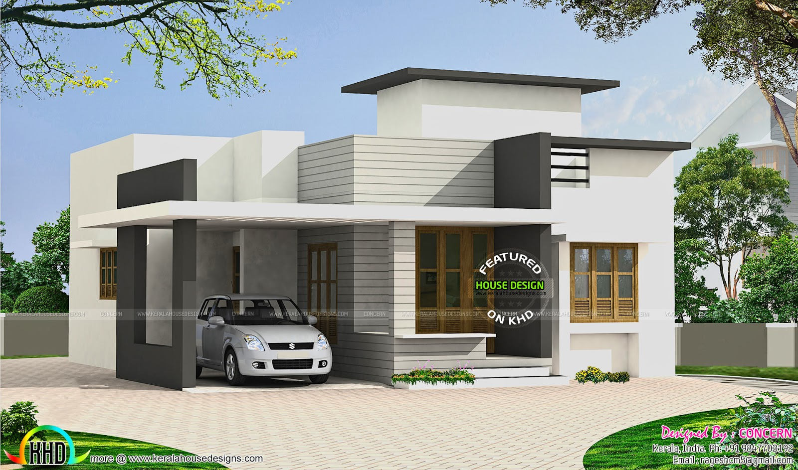 Small budget flat roof house kerala home design and for Flat roof home plans
