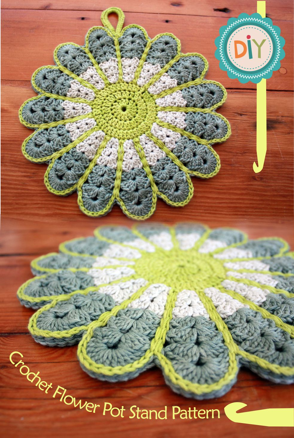 Free Crochet Pattern Large Flower : RubyRed Eclectic: FREE Pattern - Crochet Flower Potstand