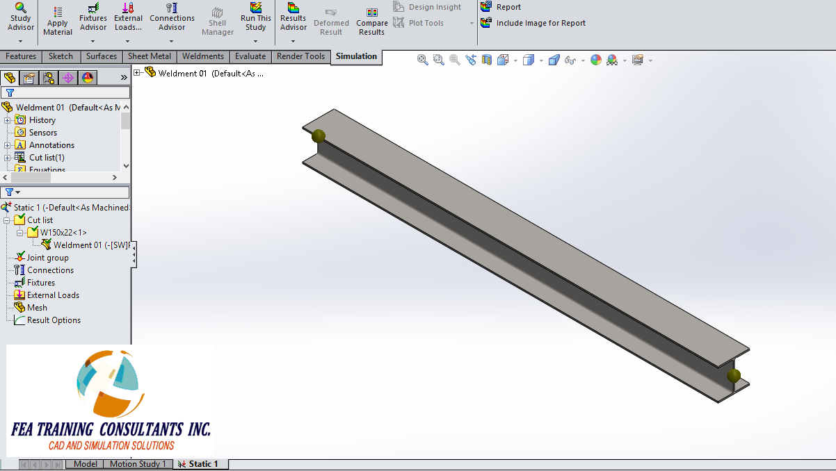 weldment joints- solidworks simulation