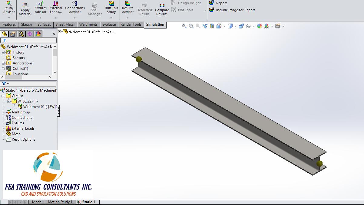 weldment joints- solidworks simulation