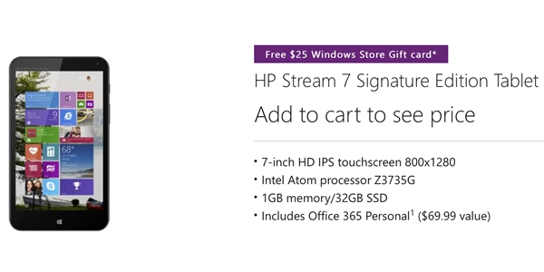 Free $25 Windows Store Gift Card with HP Stream 7