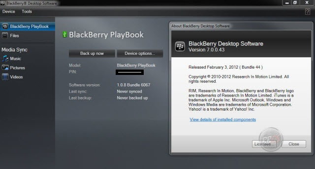 BlackBerry Desktop Manager v7.0 build 44