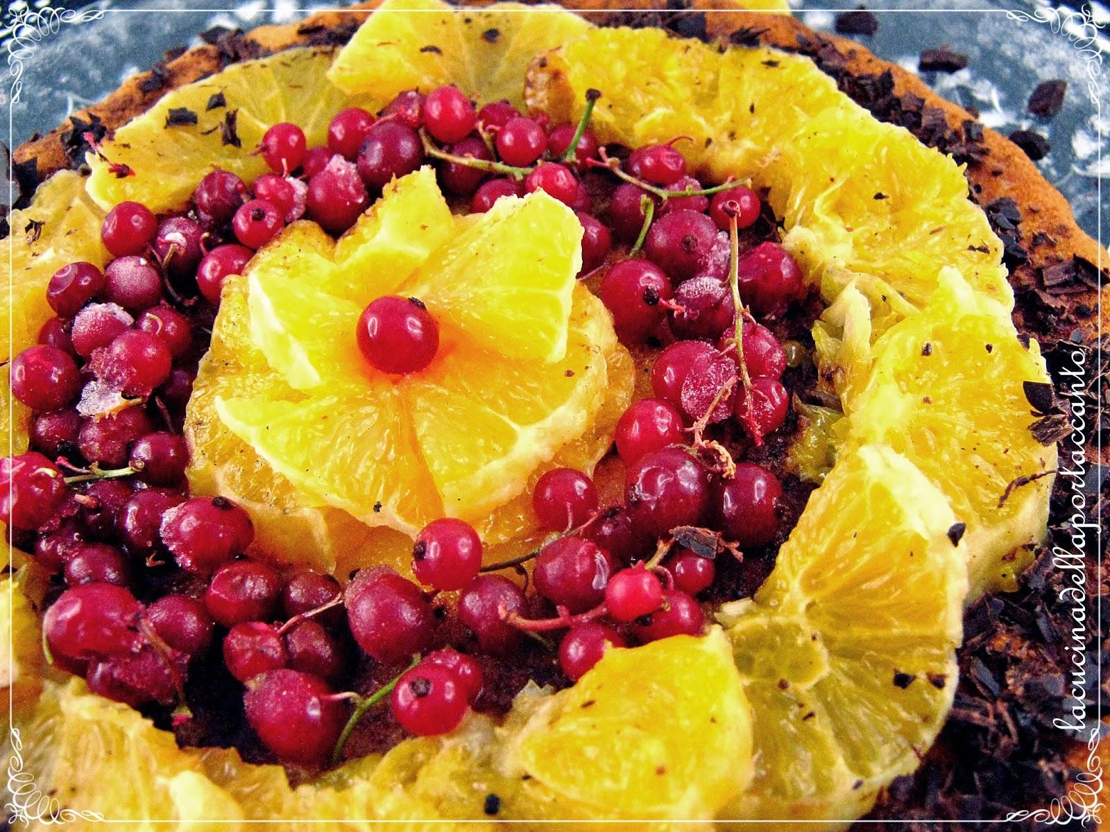torta con arance caramellate e cioccolato fondente all'aroma dei grani del paradiso