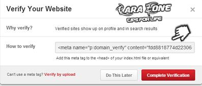 Cara Daftar Verifikasi Claim blog di Pinteres