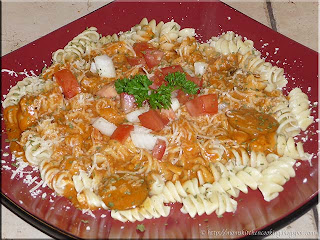 rotini with roasted tomato basil seafood sauce