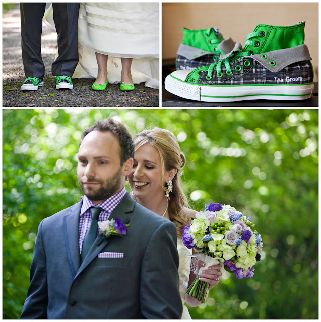 Purple checkered grooms shirt, purple lisianthus, grape hyacinth, silver spray rose