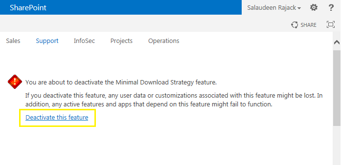 minimal download strategy in sharepoint 2013 disable
