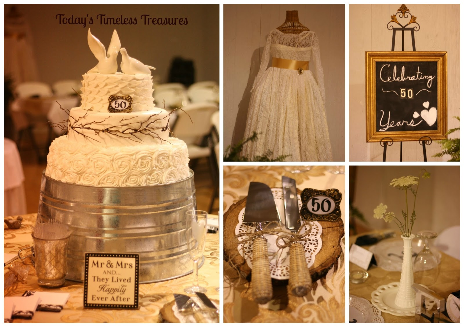 Today 39 s timeless treasures 50th wedding anniversary party for 50 wedding anniversary decoration ideas