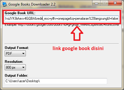 google book yang ingin anda download pada kolom yang saya tandai di