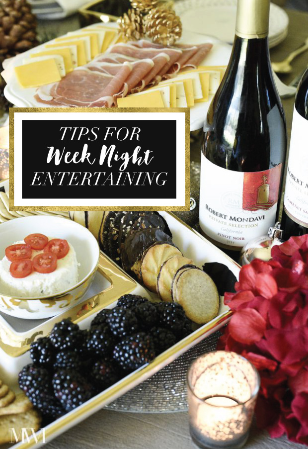 A post with 4 tips for effortless weeknight entertaining! Includes ideas for how to feed 4-6 people for under $50 including wine.