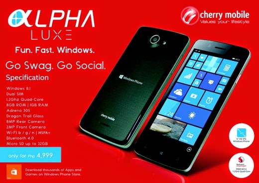 Cherry Mobile Alpha Luxe Announced, Mid-Range Windows Phone Device for P4,999