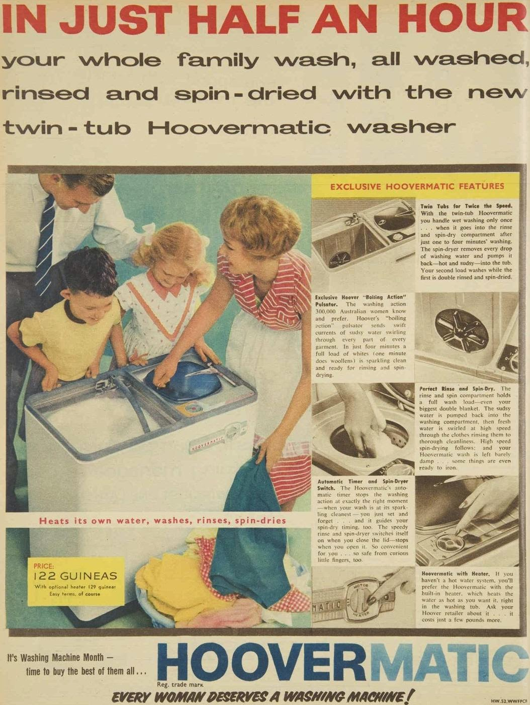 The family wash, by Hoovermatic, more interesting than television, 1959