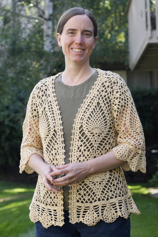 Crocheting Sweaters : We do it the Hard Way: Cream Pineapple Crochet Sweater