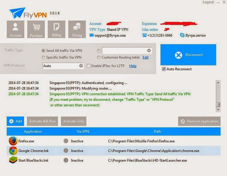 Connected Singapore VPN in Windows