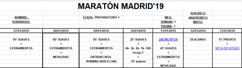 Entreno Maratón Madrid'19