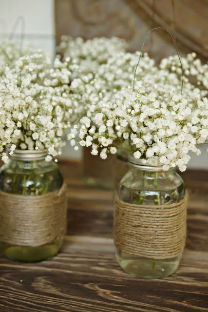Mason jars with baby's breath