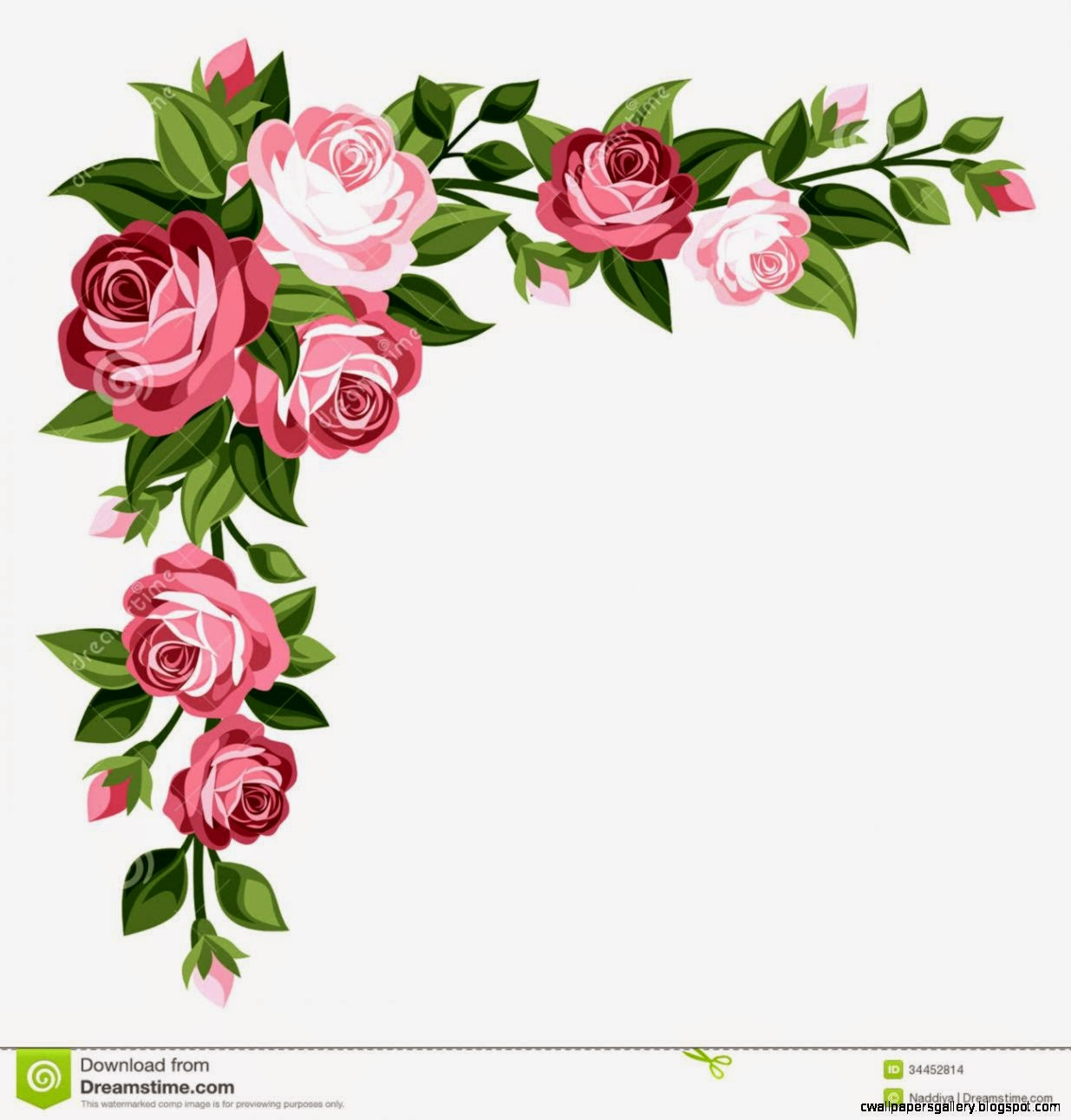 Pink Rose Corner Border | Wallpapers Gallery