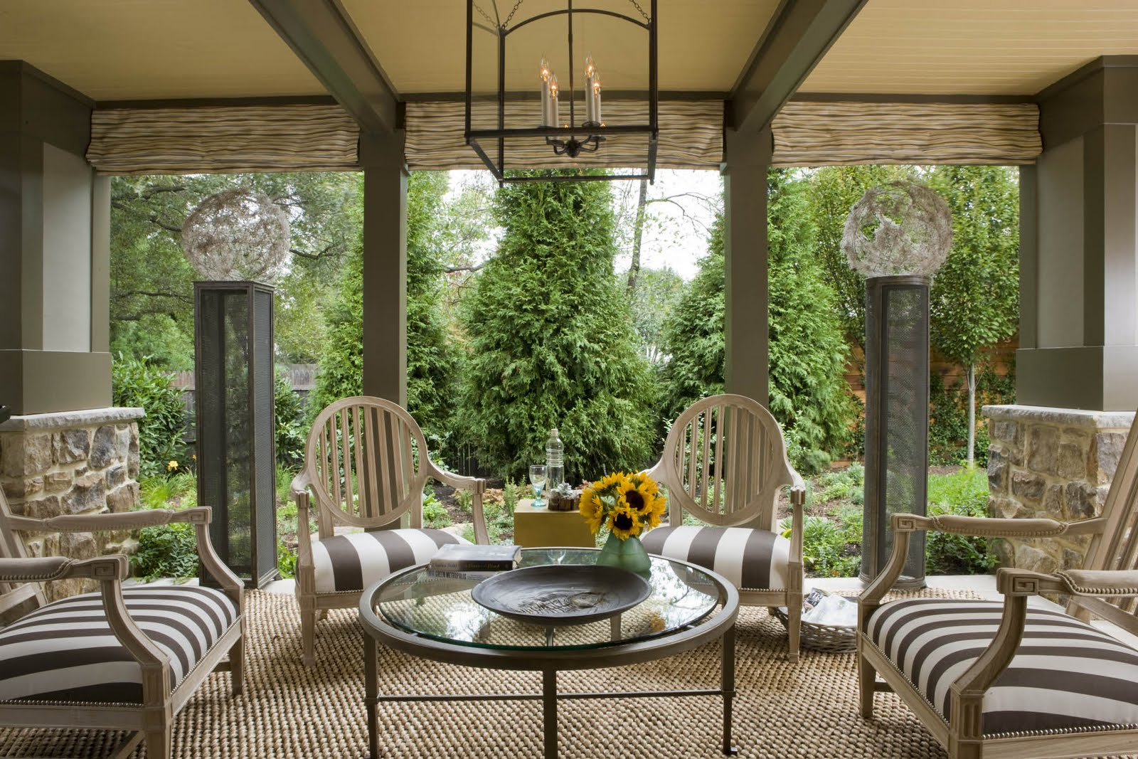 Conservatory glass house garden room inspiration for House design with garden in the middle