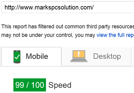 Google PageSpeed Test for Mobile Devices