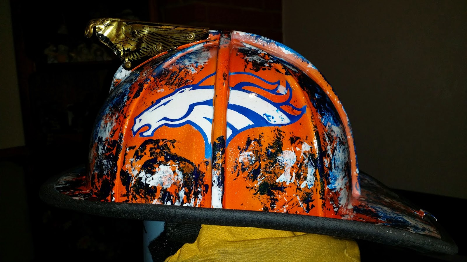 side of fire helmet, denver broncos theme
